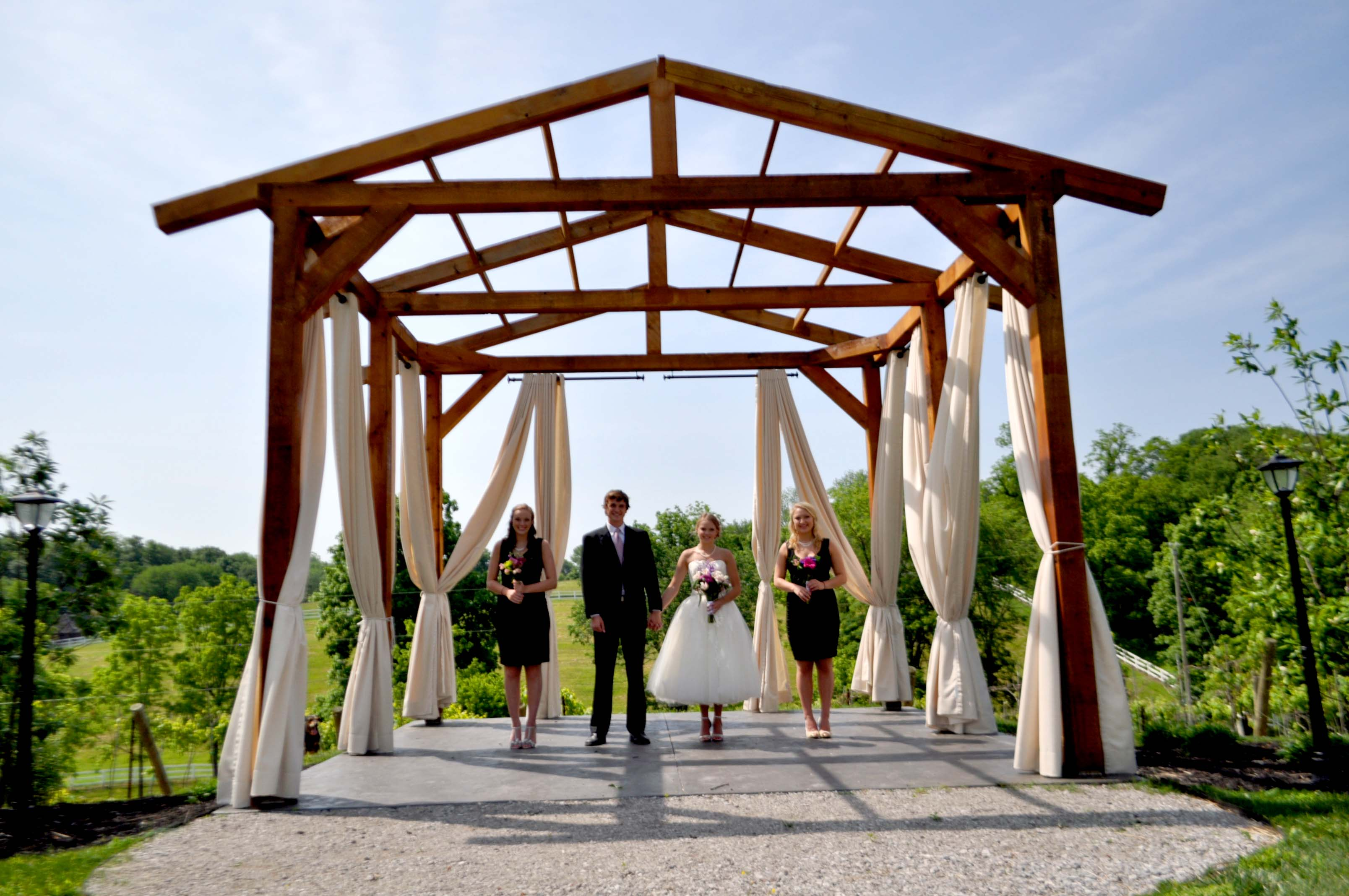 Wedding Party under Gazebo