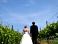 Wedding Couple in Vineyard Walking