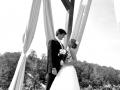 Couple under gazebo in black and white