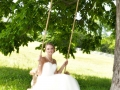 Bride on tree swing